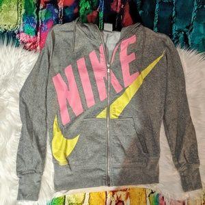 Women's Medium Nike Zip Up Hoody Grey Pink Yellow